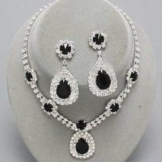 Formal Clear & Jet Black Crystal Acrylic Silver Necklace Set Prom Bridal jewelry
