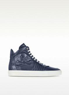 Middle Blue Leather Skulls Sneaker - Philipp Plein