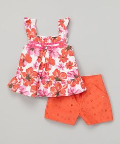 Look what I found on #zulily! Orange Floral Tank & Shorts - Infant by Young Hearts #zulilyfinds