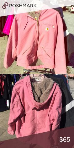 HUGE SALE! XL 14-16 pink carhartt Good condition, just don't wear it that much. Fuzzy inside and classic carhartt canvas outside. Limited edition pink. Carhartt Jackets & Coats