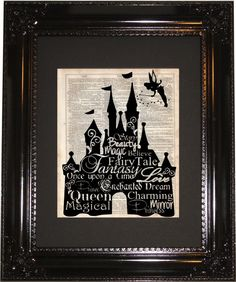 Disneyland Castle Dictionary Art Print, Vintage Dictionary, Silhouette, Disney Fantasyland, Wall Decor, Wall Hanging, Art Prints, Cameo by MySilhouetteShoppe on Etsy