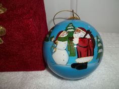 Santa & Snowman Christmas Ornament Reverse Hand Painted Glass Ball.