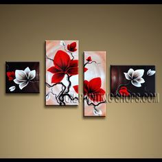 Amazing Contemporary Wall Art Oil Painting On Canvas Panels Gallery Stretched Tulip Flowers. This 4 panels canvas wall art is hand painted by Anmi.Z, instock - $145. To see more, visit OilPaintingShops.com