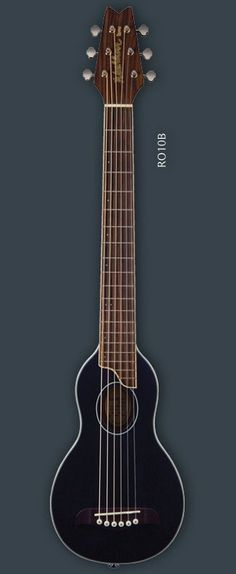 """WASHBURN RO10 ROVER TRAVEL GUITAR - BLACK  The ultimate travel guitar!  Sounds better than similarly sized travel guitars and features a full size 24"""" scale as well as a solid spruce top. Comes complete with soft shell case including shoulder strap."""