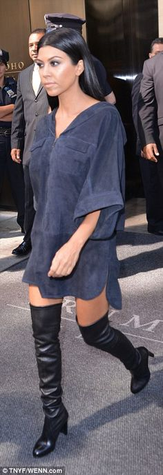 Dynamic duo: Kourtney and Khloe Kardashian looked stylish as they headed to brother-in-law...