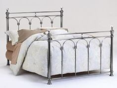 Athena Nickel with Crystal Finials Headboard - King