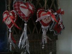 Kersthartjes rood/zilver