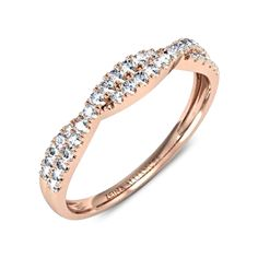 Alliance entrelacée diamant or rose Nilla Alliance Or Rose, Nilla, Gold Rings, Wedding Rings, Rose Gold, Diamond, Bracelets, Jewelry, New York