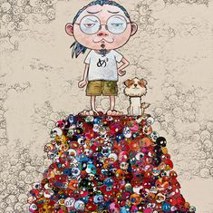 Takashi Murakami Pom & Me: On the Red Mound of the Dead, 2013 Acrylic on canvas mounted on board