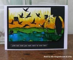 Alcohol Inks on Yupo, DesignsbyRyn.com Silhouette Dove Set and Katzelkraft cat, made by Alie Hoogenboezem-de Vries.