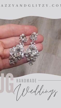 Statement Earrings, Diamond Earrings, Silver Wedding Jewelry, Bridal Earrings, Chandelier Earrings, Bridal Style, Engagement Rings, Crystals, Handmade