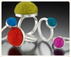 "INSPIRED ACCESSORIZING Cara Romano's felted ""jewel"" rings. LKnits.com"