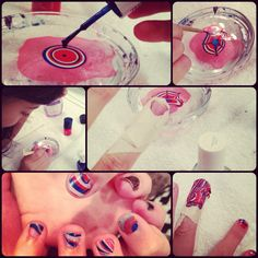 Watermarble nails...easy enough for a 10 year old girl to do on her own! Fun and so cute!