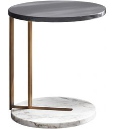 Ralf Meridiani Side TableRalf designed by Andrea Parisio for Meridiani is a low table with metal frame with a bronzed brass or matt blackvarnish and marble base. Wooden top available in matt or glossy lacquer or bronzed mirror or marble. Steel Furniture, Table Furniture, Furniture Design, Plywood Furniture, Chair Design, Painted Furniture, Corner Table Designs, Table D'angle, Round Marble Table