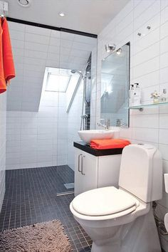 50 Amazing Scandinavian Bathroom Designs : 50 Amazing Scandinavian Bathroom Designs With White Ceramic Wall And Black Ceramic Floor And Toilet And Orange Towel And Mirror And Glass Shower Curtain And Skylight Ceiling