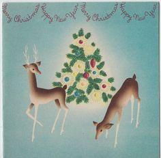 Vintage Greeting Card Christmas Deer 1940s Deco v870