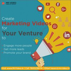 Create for your venture, to engage more people, to get more to your Marketing Videos, Promotion, How To Get, Create, Business, People, Store, Business Illustration, People Illustration