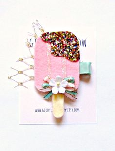 Felt Hair Clip  Popsicle Hair Clip Glitter Hair by giddyupandgrow I'm dying over this!!