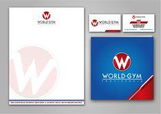 Hoja Membretada, Tarjetas de presentación y Folleto de ventas. World Gym Providencia
