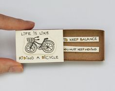 "Fun Inspirational Card ""Life is like riding a bicycle"" Matchbox/ Gift box / Message box"