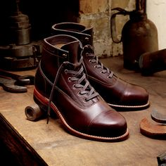 Men's Rockford 1000 Mile Cap-Toe Boot - - Vintage Boots from Wolverine. Saved to Boots. Harley Davidson Motorcycle Boots, Mens Motorcycle Boots, Leather Men, Leather Boots, Smooth Leather, Adventure Boots, Fashion Boots, Mens Fashion, Boots 2017