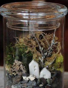 Tiny Ceramic Terrarium House Pair
