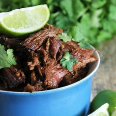 Easy Slow Cooker Chili-Lime Mexican Shredded Beef Recipe Main Dishes with chuck roast, lemon-lime soda, chili powder, salt, garlic, lime