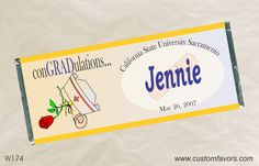 Graduation party favors from nursing school - personalized candy bar wrappers from www.customfavors.com. #graduation #nursingschool #personalizedbars #candy