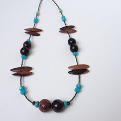 Long Wood Blue Necklace - Jasper Wood Necklace - Boho Hippy Necklace - Brown Blue Necklace - Long Summer Necklace - Boho Chic Jewelry