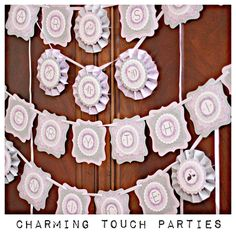 Sugar and Spice boutique banner by Charming Touch Parties. Lavender and grey.  Deluxe and boutique. Customizable. by CharmingTouchParties on Etsy