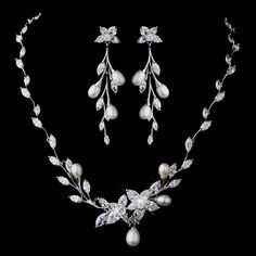 Floral CZ and Pearl Wedding Jewelry Set - a beautiful jewelry set for the bride!