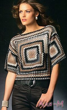 Crochet inspiration - looks like 6 granny squares. The yarn makes this top pop!