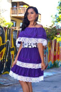 024145da10c6 Purple Mexican Off Shoulder Mini Dress Crochet Lace Trim