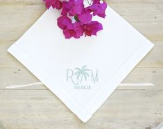 DonovanDesignLinens.com - MEN'S PALM TREE Monogram Embroidered Pocket Squares, perfect as a Wedding Handkerchief for the groom, father of the bride or groom, and groomsmen, for destination weddings, and as birthday and anniversary gifts for guys - More monogrammed men's and ladies' handkerchiefs, wedding accessories, and home linens available from DonovanDesignLinens.com and DonovanDesignLinens shop on Etsy. Cotton Anniversary, Anniversary Gifts, Wedding Bride, Wedding Gifts, Casual Wedding Attire, Wedding Handkerchief, Father Of The Bride, Monogram Letters, Bride Gifts