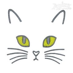 Ideas For Embroidery Cat Face Appliques Embroidery Applique, Embroidery Patterns, Machine Embroidery, Cat Template, Cat Quilt, Cat Cards, Face Design, Rock Crafts, Cat Drawing