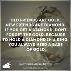 Old friends are Gold, New friends are Diamond, If you get a. Gold Quotes, Wise Quotes, Inspirational Quotes, Quotable Quotes, Friends Are Like, Old Friends, Forget You Quotes, New Friend Quotes, Diamond Quotes