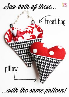 Pocket Heart Pillow and Treat Bag Sewing Tutorial :: PositivelySplendid.com