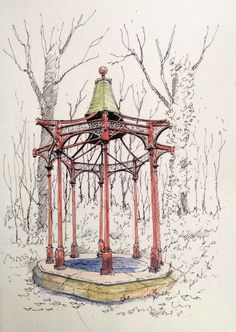 Derelict bandstand in Roundhay Park woods in Leeds ~ sketch ~ John Edwards John Edwards, Drawing Sketches, Drawings, Sketching, Urban Sketchers, Cubism, Adult Coloring Pages, Pencil Art, Leeds