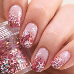 Rosegold holo glitter gradient snowflake nails