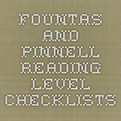 Fountas and Pinnell Reading Level Checklists