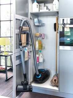 Furniture, Awesome Contemporary Kitchen With Cool Broom Storage Also Modern Black Vacuum Cleaner Also Mop And Cleaning Equipment Also Lovely...