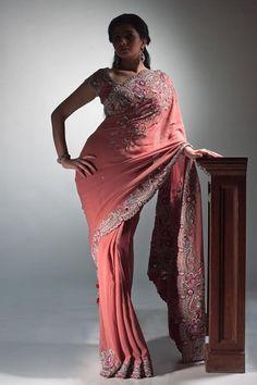 Pink Embellised Georgette Saree 60% Off - Satya Paul