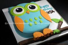 fox birthday cake | cookiecoo: Owl birthday cake for Sheesa
