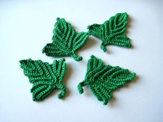 Crocheted Leaves Appliques by GoldenLucyCrafts on Etsy, $6.40