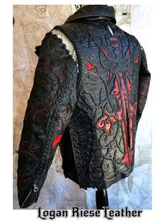 A custom Leather jacket by Logan Riese Took over an hour to make. Logan Riese Leather jacket with skulls and cross New Foto, Leather Men, Black Leather, Custom Leather Jackets, Revival Clothing, Cool Outfits, Fashion Outfits, Herren Outfit, Best Mens Fashion
