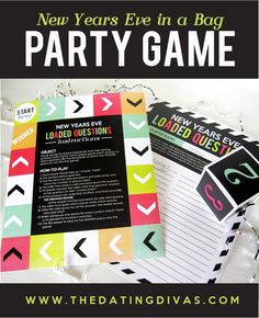 Throw the ultimate party with these quick and easy New Year's Eve Countdown Bags! They are filled with activities for each hour leading up to midnight! Perfect for families, couples, and group dates! New Years Eve Games, New Years Eve Day, New Years Eve Dinner, New Years Party, New Year's Eve Celebrations, New Year Celebration, Boutique Logo, Logo Branding, New Year's Eve Activities