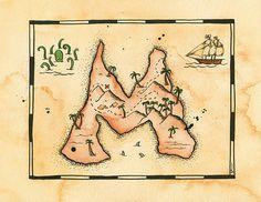 Letter M Treasure Map / 8 x 10 Archival Print /