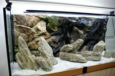 Natural wood rocks and 3D root background, plus white natural gravel. Available to order at www.aqua-maniac.com