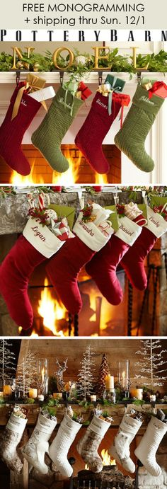 FREE monogramming + free shipping on all Pottery Barn stockings! Ends tomorrow, Sunday 12/1. Click through for details.