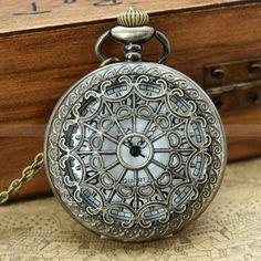 Pocket watch-vintage locket necklace with heart zodiac watch pendant ...
